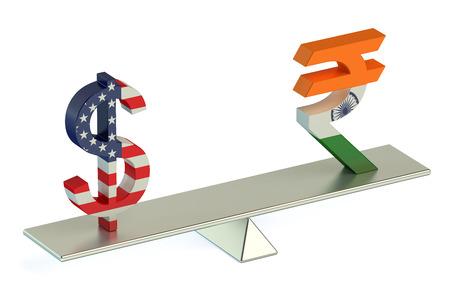 dollaro: Dollaro o Rupia indiana, USD  INR coppia di valuta, concetto