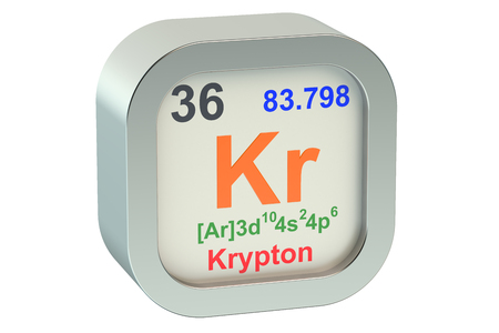Krypton element symbol  isolated on white background