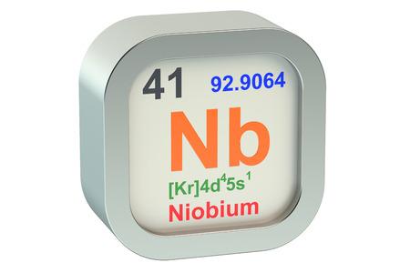 nb: Niobium element symbol isolated on white background