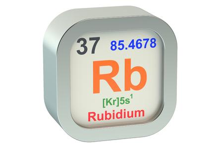 alkali metal: Rubidium element symbol  isolated on white background Stock Photo