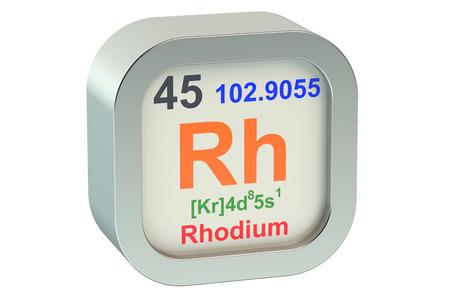 rhodium: Rhodium element symbol  isolated on white background