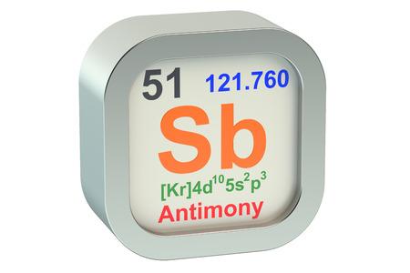 antimony: Antimony element symbol  isolated on white background