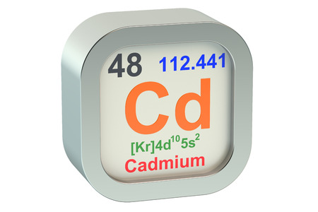 cadmium: Cadmium element symbol  isolated on white background