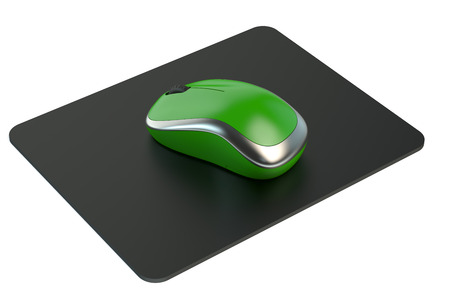 Green Wireless Computer Mouse on  mouse mat isolated on white background