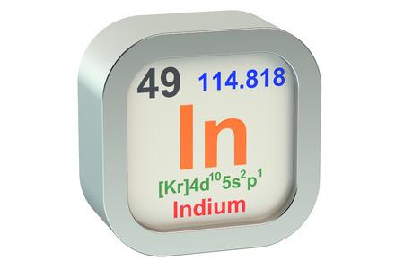 indium: Indium element symbol isolated on white background Stock Photo