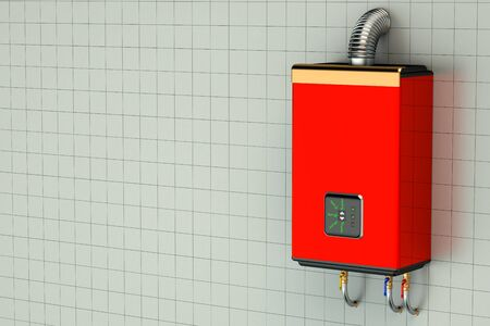 water heater: Red home gas-fired boiler, water heater