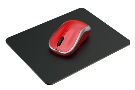 mousepad: Red Wireless Computer Mouse on  mouse mat isolated on white background