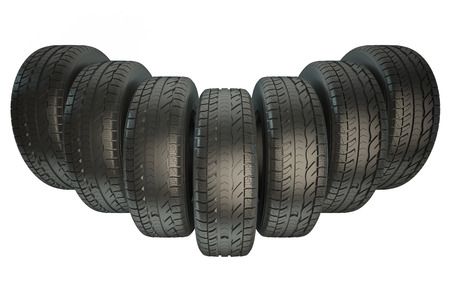 traction: Group of automotive tires isolated on white background Stock Photo