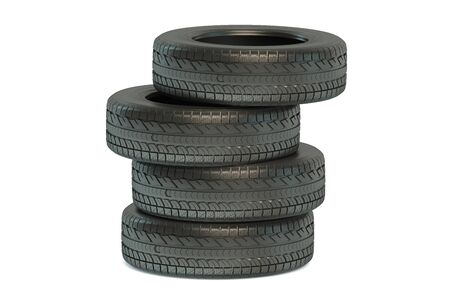 winter tires: Stack of winter automobile tires isolated on white background