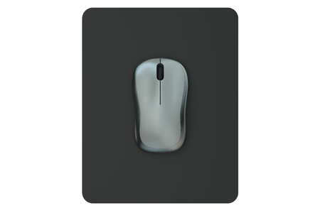 Wireless Computer Mouse on  mouse mat isolated on white background Stock Photo