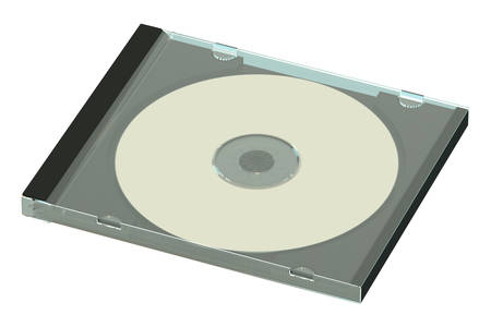 cd case: CD or DVD disk in case isolated on white background Stock Photo