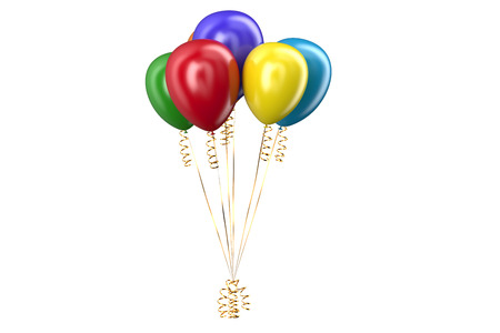 set of colored balloons isolated on white background