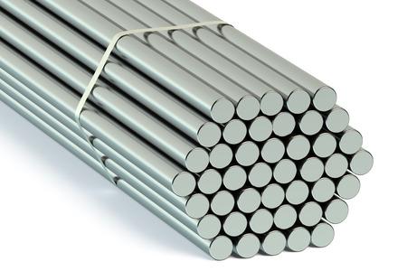 rejas de hierro: barras redondas de acero aisladas sobre fondo blanco
