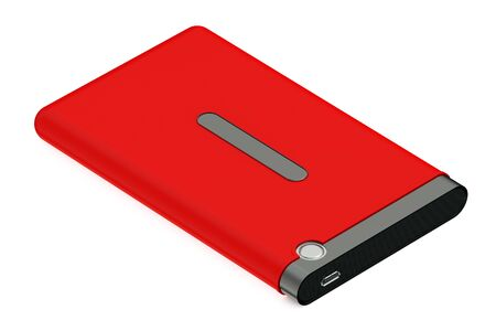 portable hard disk: Red External HDD isolated on white background