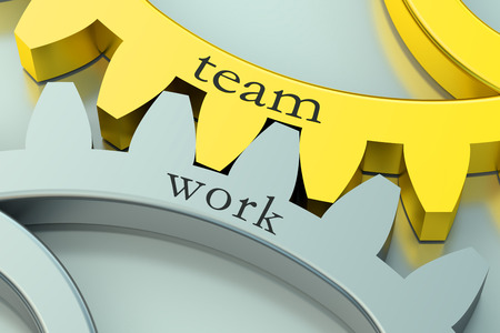 team concept: Team Work concept on the gearwheels