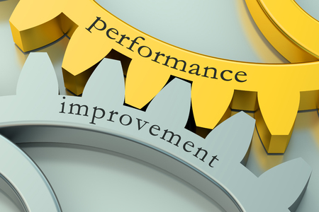 Performance Improvement concept op de tandwielen Stockfoto