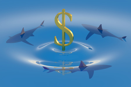 financial emergency: Dollar symbol sinking in the water with sharks Stock Photo
