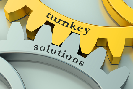 business solution: Turnkey Solution concept on the gearwheels Stock Photo