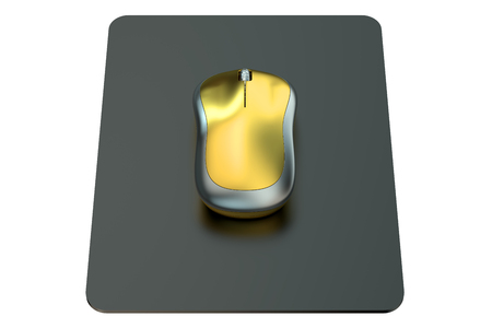 mousepad: Wireless Computer Mouse on  mouse mat isolated on white background Stock Photo