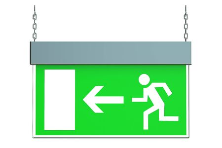escape route: Exit sign isolated on white background