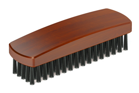 bristles: Wooden Brush  isolated on white background Stock Photo