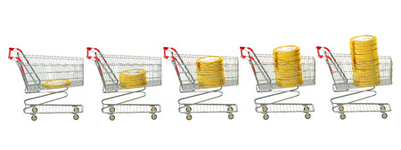 low cost: Shopping carts with euro coins isolated on white background