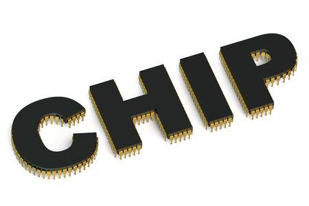 electronic background: CHIP icon isolated on white background