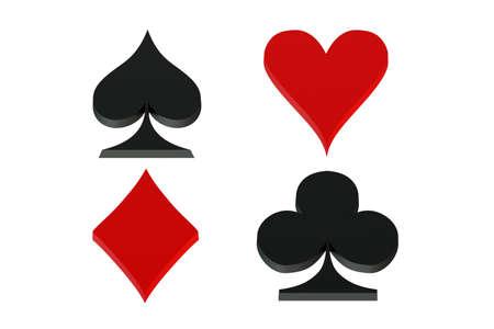 playing card symbols: Playing card symbols, card suit isolated on white background