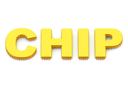 multicore: CHIP golden symbol isolated on white background