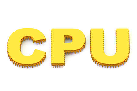 multicore: CPU golden symbol isolated on white background