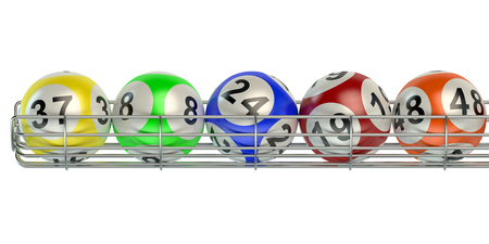 lottery: Row from lottery balls isolated on white background