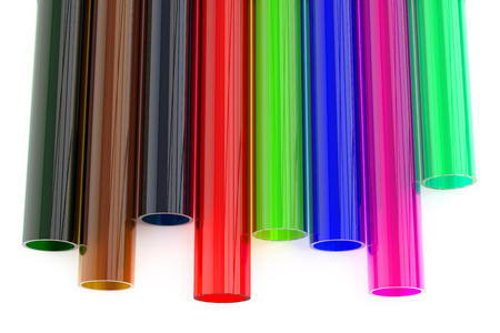polystyrene: Colored acrylic plastic tubes isolated on white background