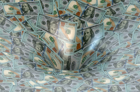 hole: Dollar flow in black hole Stock Photo