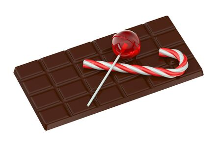 chocolate bar: Lollipop, chocolate bar and candy cane isolated on white background