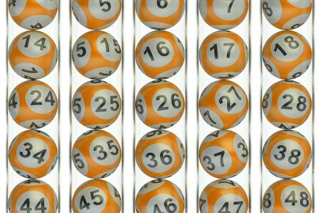 lotto: Set of orange lottery balls, lotto concept