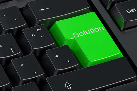 enter button: Solutions concept on green keyboard button