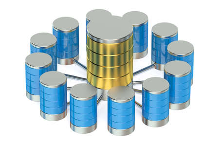 connection: Database and data storage concept isolated on white background
