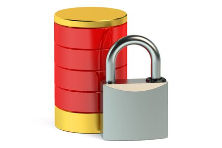protected database: Protected database concept isolated on white background Stock Photo