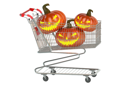 shoppingcart: Halloween Shoppingcart isolated on white background