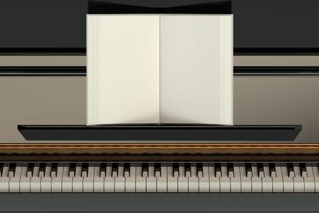 pianoforte: Piano with empty music notebook Stock Photo