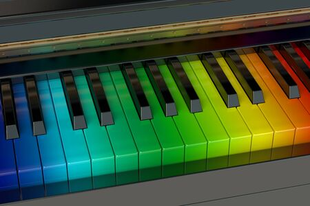 3d rainbow: the rainbow piano Stock Photo