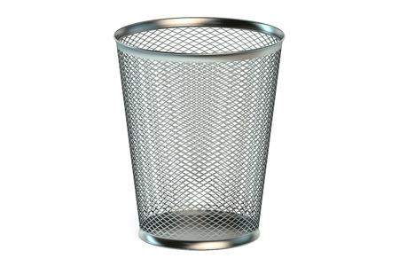 garbage bin: empty metallic garbage bin isolated on white background