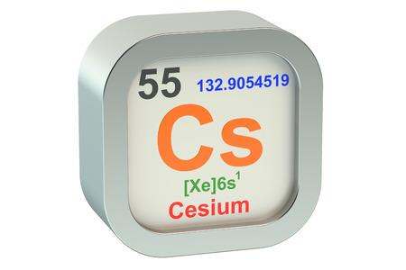 caesium: Caesium element symbol isolated on white background Stock Photo