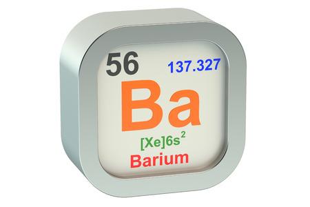barium: Barium element symbol isolated on white background Stock Photo