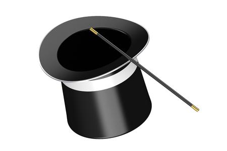 魔法の帽子と白い背景で隔離の魔法の杖 写真素材