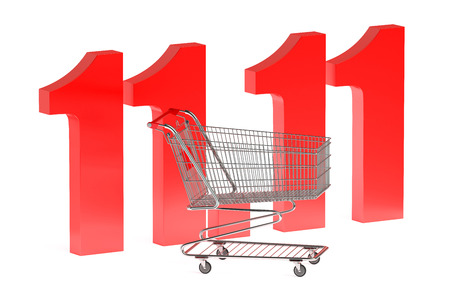 product cart: 11 november Shopping Day concept isolated on white background
