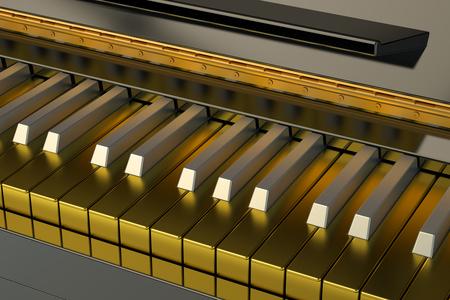 pianoforte: Golden Piano keyboard Stock Photo