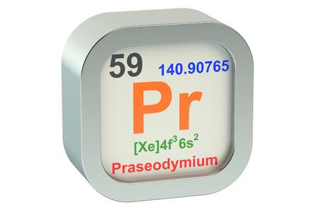 Praseodymium  element symbol  isolated on white background