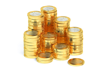 stack of coins: Stack of Euro coins isolated on white background