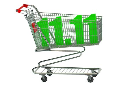 product cart: World Shopping Day concept isolated on white background
